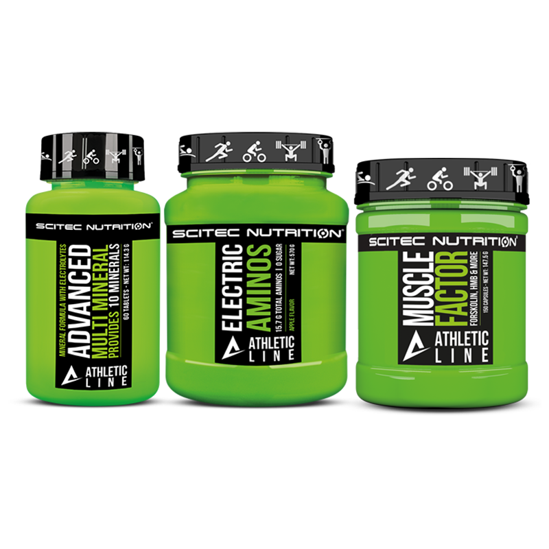 Scitec Nutrition Muscle Factor + Electric Aminos + Advanced Multi Mineral set