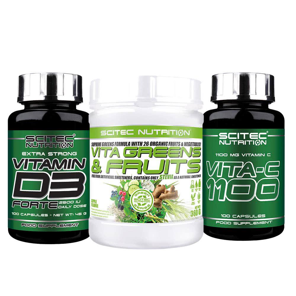 Scitec Nutrition Vita Greens & Fruits Stevia + D3 Forte + C-1100 set
