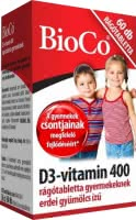 BioCo Vitamin D3 400 chewables for Kids (60 tabl. de mest.)