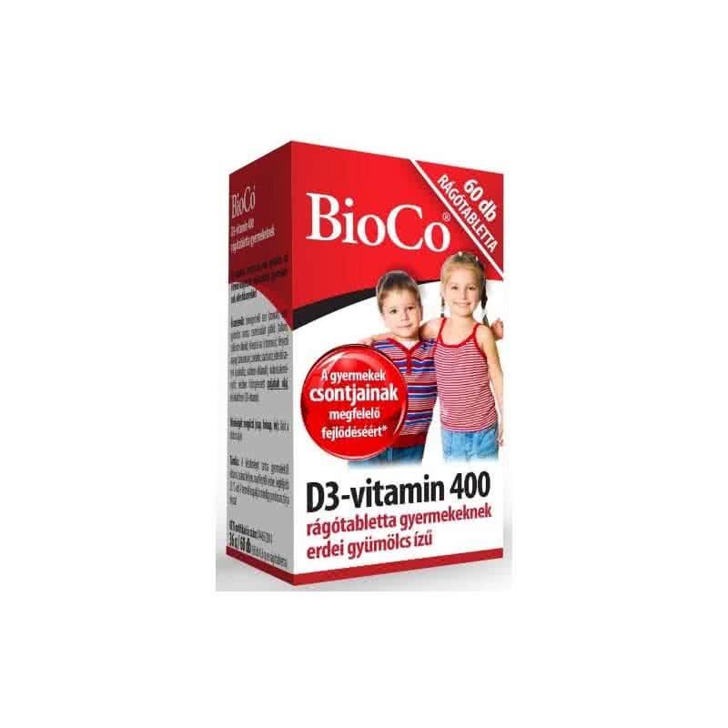 BioCo Vitamin D3 400 chewables for Kids 60 tabl. de mest.