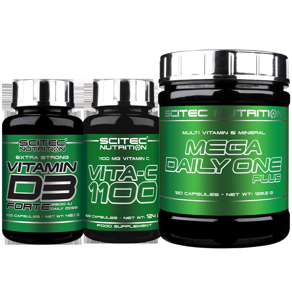 Scitec Nutrition Mega Daily One + C-1100 + D3 Forte set