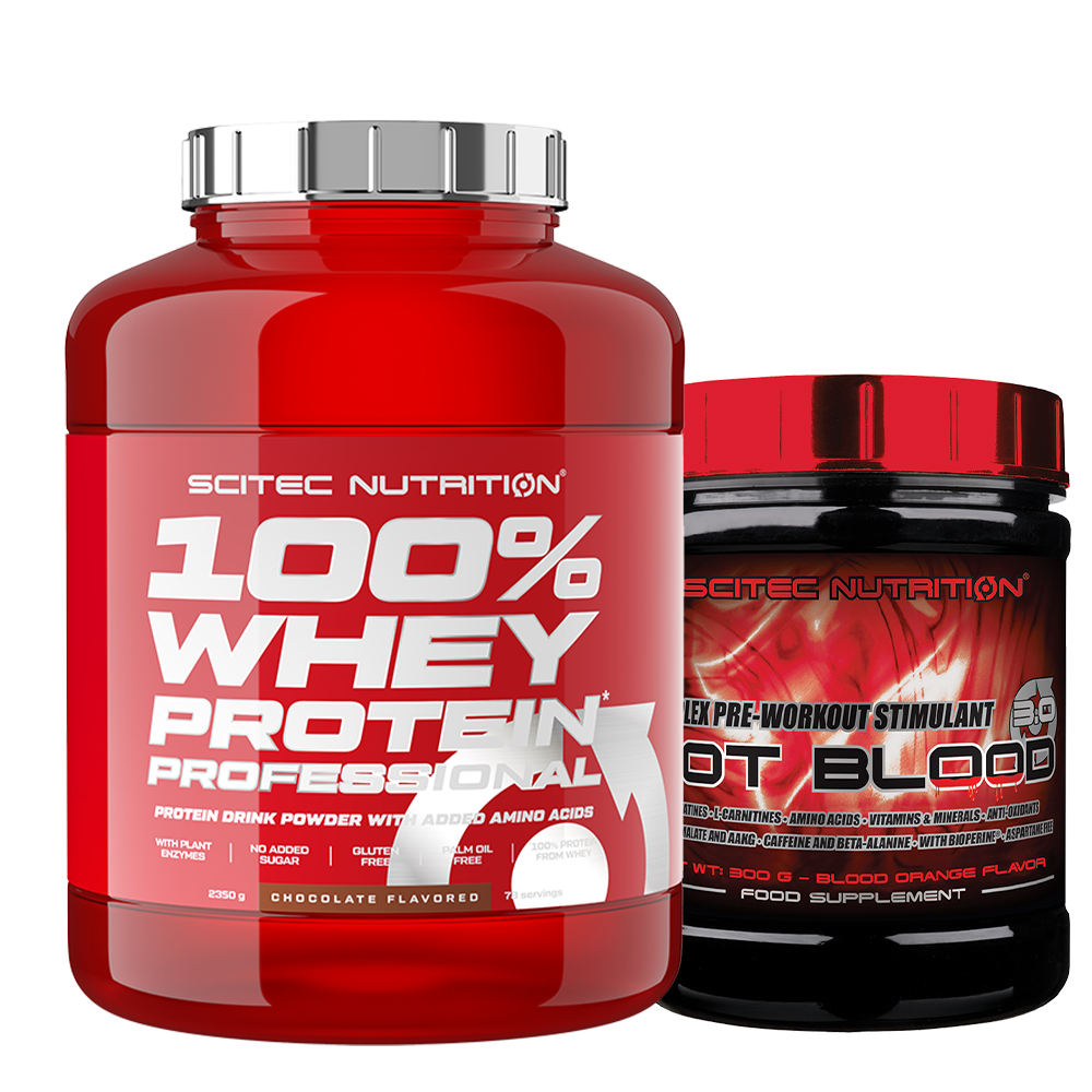 Scitec Nutrition 100% Whey Protein Professional + Hot Blood 3.0 set