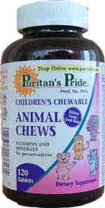 Puritans Pride Animal Chews 60 tabl. de mest.