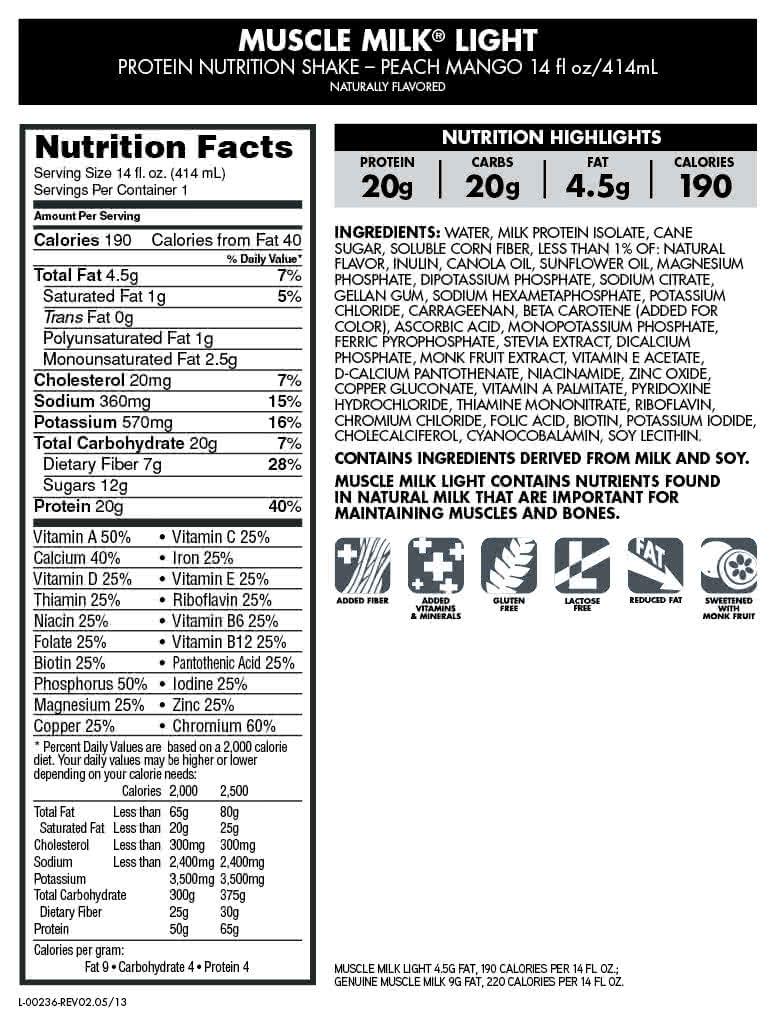 CytoSport Muscle Milk Light RTD 12x414 ml